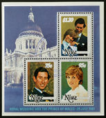 A collection stamps printed in Niue shows portraits of the Prince of Wales on the occasion of their wedding on St Paul's Cathedral — Stock Photo