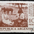 Foto Stock: Stamp printed in Argentinshows Pick-Nick by Fernando Fader