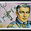 Stamp printed in Guinea dedicated to air heroes, shows J. E. Johnson, historic aviator of the Second World War — Stock Photo