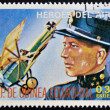 Stamp printed in Guinea dedicated to air heroes, shows Godwin Brumoski, historic aviator of the First World War — Stock Photo