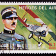 Stamp printed in Guinea dedicated to air heroes, shows Francesco Baracca, historic aviator of the First World War — Stock Photo #13552773