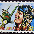 Stamp printed in Guinea dedicated to air heroes, shows Ivan Kojedoub, historic aviator of the Second World War — Stock Photo