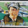 Stamp printed in Guinea dedicated to air heroes, shows Walter Nowotny, historic aviator of the Second World War — Stock Photo