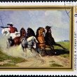 A stamp printed in Hungary shows Coach and Five, by Karoly Lotz — Stock Photo