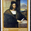 A stamp printed in Hungary shows portrait of a man, by Sebastiano del Piombo — Stock Photo