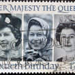 Stamp printed in Great Britain shows Her Majesty Queen Elizabeth II, sixtieth birthday, — Stock Photo #13552985