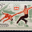 Stamp printed in USSR Russia shows Winter Olympic Games Emblem and Speed skating — Stock Photo