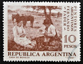 A stamp printed in Argentina shows Pick-Nick by Fernando Fader — Stock Photo