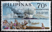A stamp printed in Philippines shows Taal volcano eruption - 1965 — Stock Photo