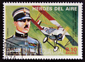 Stamp printed in Guinea dedicated to air heroes, shows Francesco Baracca, historic aviator of the First World War — Stock Photo
