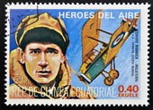 Stamp printed in Guinea dedicated to air heroes, shows Edward Mannock, historic aviator of the First World War — Stock Photo