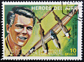 Stamp printed in Guinea dedicated to air heroes, shows R. I. Bong, historic aviator of the Second World War — Stock Photo