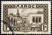 A stamp printed in Morocco shows Tangier — Stock Photo