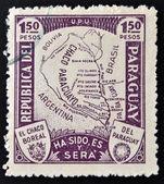 Eine Briefmarke, die im Krieg für grand Chaco in Paraguay mit Karte gedruckt — Stockfoto
