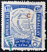 A stamp printed in Paraguay with map during war for Grand Chaco — Stock Photo