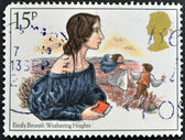 A stamp printed in Great Britain showing a drawing the writer Emily Bronte: Whuthering Heights — Foto Stock