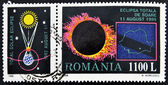 A stamp printed in Romania shows Total Eclipse of the Sun — Stock Photo