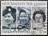 A stamp printed in the Great Britain shows Her Majesty the Queen Elizabeth II, sixtieth birthday, — Stock Photo