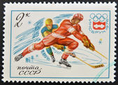 Stamp printed in USSR Russia shows Winter Olympic Games Emblem and Ice Hockey — Stock Photo