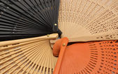 Detail fans collection of four colors — Stock Photo