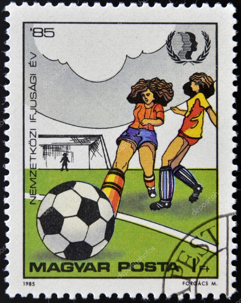 HUNGARY - CIRCA 1985: stamp printed in Hungary shows women footballers, circa 1985   Stock Photo #13552823