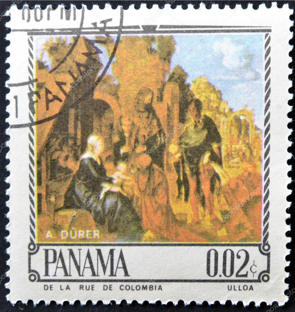 PANAMA - CIRCA 1967: A stamp printed in Panama shows The Adoration of the Magi by Alverto Durer, circa 1967 — Stock Photo #13552888