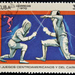 Royalty-Free Stock Photo: A stamp printed in Cuba shows fencing