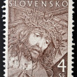 图库照片: Stamp printed in Slovakishows Christ