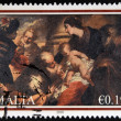MALTA - CIRCA 2010: A stamp printed in Malta shows The painting 'The Adoration of the Magi' from Lombard Bank Head Office Valletta, circa 2010 - Stock Photo