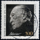 A stamp printed in Germany, shows Chancellor Konrad Adenauer — Stock Photo