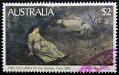 "A stamp printed in Australia shows a painting by the artist Fred McCubbin ""On the Wallaby Track"" — Stock Photo"