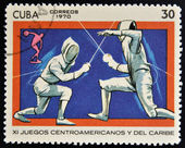 A stamp printed in Cuba shows fencing — Stock Photo