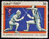 En stämpel som tryckt i kuba visar stängsel — Stockfoto