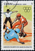 A stamp printed in Cuba dedicated to Olympic Games in Barcelona 1992 shows baseball game — Stock Photo