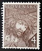 марку, напечатанную в словакии показывает христа — Стоковое фото