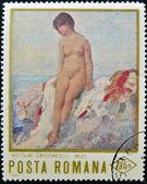Francobollo stampato in romania illustrato nudo di nicolae grigorescu — Foto Stock