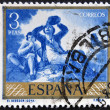 Stock Photo: Stamp printed in Spain shows paintings Drinker by Francisco de Goya