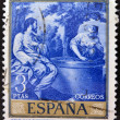 A stamp printed in Spain shows painting Jesus and the Samaritan woman by Alonso Cano — Stock Photo