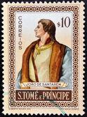 一枚邮票,印在圣多美显示若昂德 santarem — 图库照片