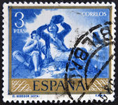 A stamp printed in Spain shows paintings The Drinker by Francisco de Goya — Stock Photo