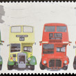 Stock Photo: UNITED KINGDOM - CIRC2001: stamp printed in Great Britain shows AEC Regent III RT Type, Bristol KSW5G Open-top, AEC Routemaster and Bristol LodekkFSF6G, circa