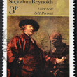 Stock Photo: UNITED KINGDOM - CIRC1973: stamp printed in Great Britain shows 'Self-portrait' by Sir JoshuReynolds, circ1973