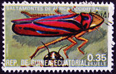 EQUATORIAL GUINEA - CIRCA 1973: stamp printed in Guinea dedicated to insects shows grasshopper West Africa, circa 1973 — Stock Photo
