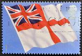 联合王国-约 2001 年: 在英国打印戳记表明,皇家海军的旗帜,大约在 2001年 — 图库照片