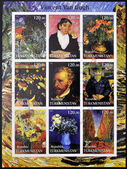 TURKMENISTAN - CIRCA 2001: stamps printed in turkmenistan, shows set of stamps with pictures of Vincent Van Gogh, circa 2001 — Foto Stock