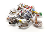 Crumpled paper balls and thrown — Stock Photo