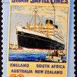 A stamp printed in Australia shows Shaw Savill Lines - Stock Photo