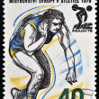 A stamp printed in Czechoslovakia dedicated 5th European Athletic Championships, Prague, shows Shot put — Stock Photo #14016076
