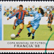 A stamp printed in cuba dedicated to Football World Cup France 98 — Stock Photo