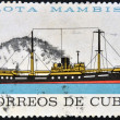 图库照片: Stamp printed in Cubdedicated to Mambisfleet, shows jibacoriver ship